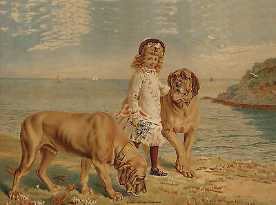 MASTIFF DOGS AND LITTLE GIRL CHARMING DOG ART GREETINGS NOTE CARD