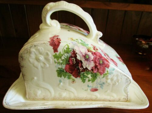 STUNNING 1860s ANTIQUE ART NOUVEAU MOULDED PORCELAIN CHEESE~BUTTER DISH~FLOWERS