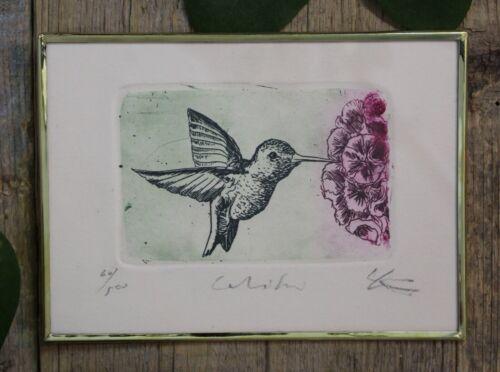 Sweet Hummingbird & Flower Etching Framed Brass Mexico Folk Art by Genaro Abelar