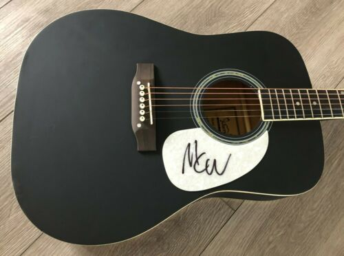 """MARK WYSTRACH MIDLAND SIGNED AUTOGRAPH 41"""" FULL SIZE ACOUSTIC GUITAR w/PROOF"""