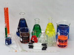 49 Piece Chemistry Glassware Starter Kit - Beaker Pipet Flask Test Tubes