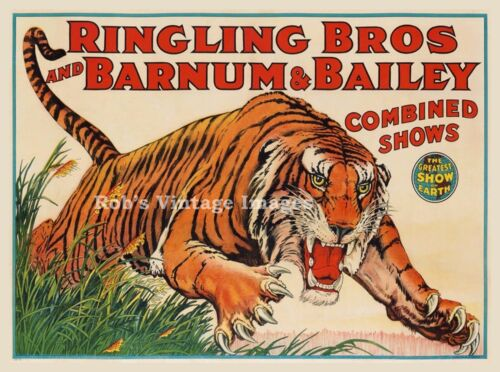 Ringling Bros. Barnum & Bailey Circus Tiger Poster Greatest Show on Earth