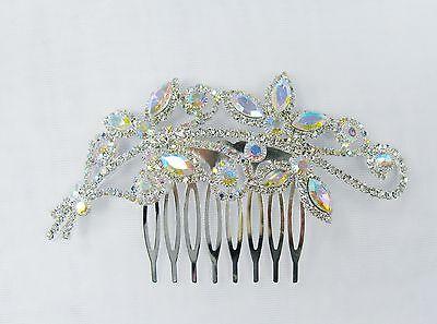 Silver Iridescent Rhinestone Crystal Hair Comb  # 32042 Bridal Prom Wedding