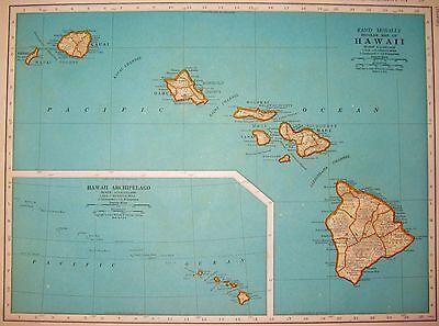 1941 Vintage Hawaii Map Gallery Wall Art Hawaiiana Hawaiian Islands Map #3375