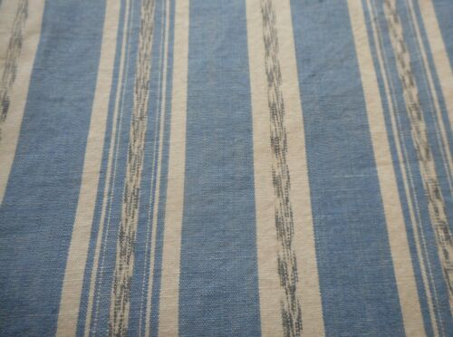 Antique Blue Ikat Stripe Chambray Cotton Fabric ~ Shirting Ticking