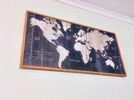 World map in randwick 2031 nsw art gumtree australia free local large world map wood mounted framed gumiabroncs Images