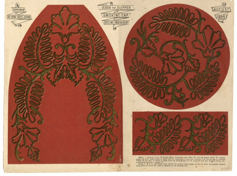 1884 Slipper & Smoking Cap EMBROIDERY OUTLINE, PATTERN, Supplement To Young Ladi