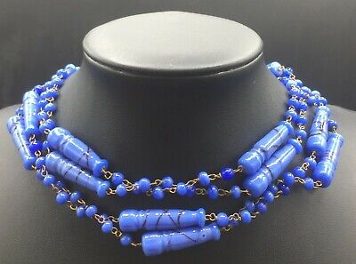 1930s Art Deco Style Jewelry Vintage Blue Art Deco High End Long Opera Length Necklace 1930's 1940's $89.99 AT vintagedancer.com