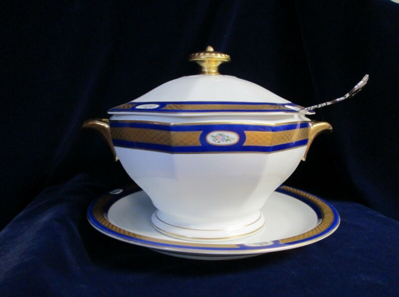 Spectacular Antique Soup Tureen & Underplate Heavy Gold Trim Germany 1906 - 1929
