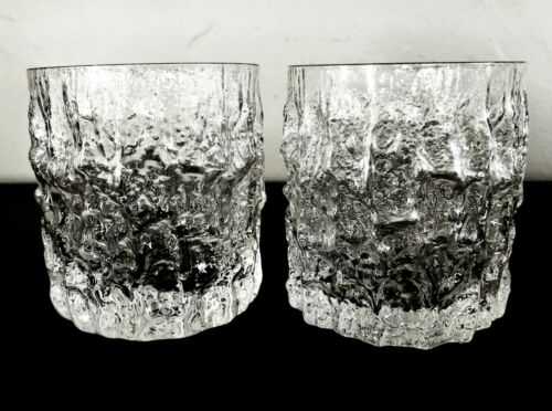 2 WHITEFRIARS GLACIER EVEREST MELTING ICE BARK CRYSTAL ROCKS WHISKEY TUMBLERS