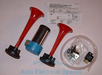Auto Kit / Klassisch 12v Luft Hörner Rot Paar Komplett mit
