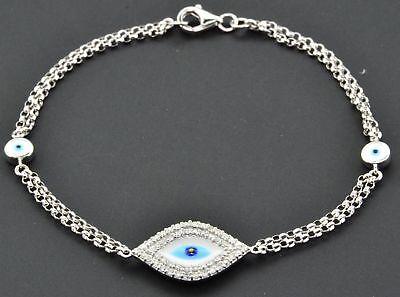 Diamond Evil Eye Bracelet 7 Inch 14k White Gold Double Strand Rolo Link 0.30 Ct. - Eye Link Diamond Bracelet