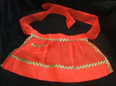 Vintage Childs or Dolls Christmas Sheer Organdy Red Green Gold Rick Rack Apron