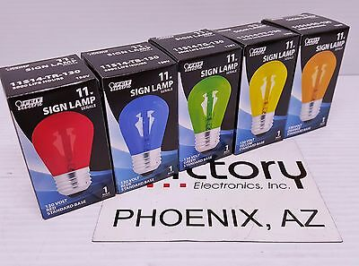 NEW Feit Electric Light Bulb 11W SIGN Incandescent Red Blue Yellow Green -