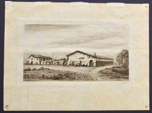 Henry Ford Chapman 1883 Signed Etching Of Mission San Fernando On Japanese Paper