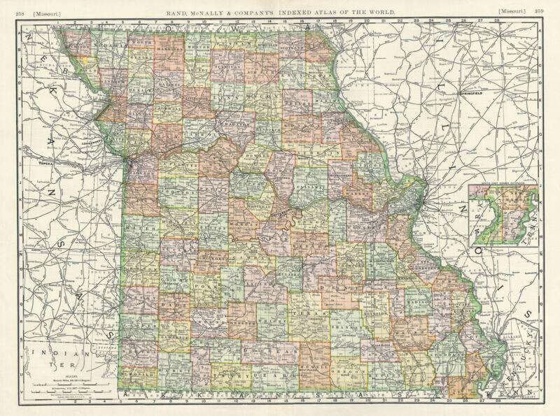 1888 Rand McNally map of Missouri
