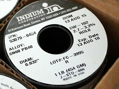 1-new-indium Soldering Wire Alloy 6040 0.032 1lb. Roll