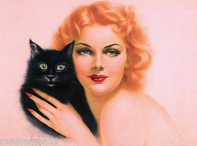 1940s Pin-Up Girl Halloween Black Cat Poster Print Art Pin Up Vintage