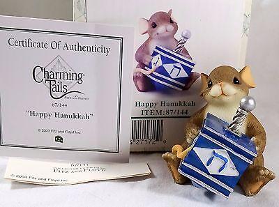 Charming Tails Figurine Happy Hanukkah NIB Driedel