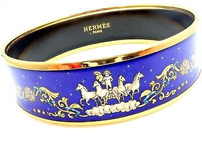 Rare! Authentic Hermes Paris Wide Blue Enamel Apollo Chariot Bangle Bracelet + B