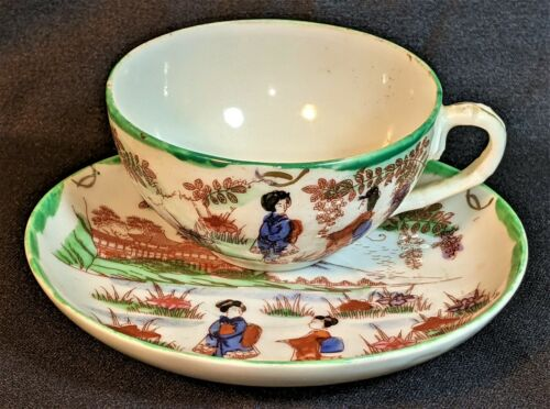 Antique Japanese Kutani Geisha Scene Hand Painted Porcelain Tea Cup & Saucer