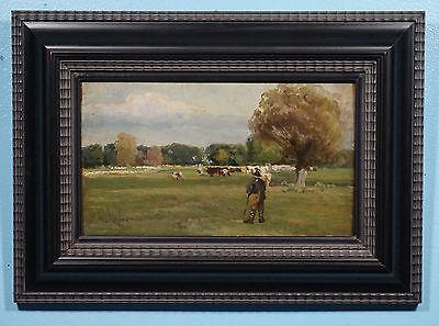 Antique Oil on Wood Painting Landscape Farmer Cows Framed Jeno Major 1918-1963