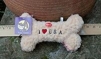 "Plush Dog Toy - Fleece - Liberty Bone 10"" Colorful Dog Toy - Closeout Price!"