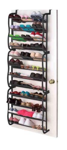Sunbeam NEW Black Over the Door OTD Black 36-Pair Shoe Rack