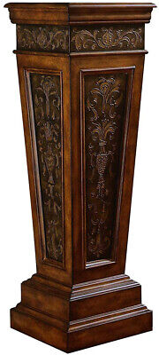 Indoor Pedestal Plant Stand Wood Scroll Accent Table Hall Entry Pillar Column