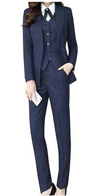 Lisueyne Womens Three Piece Office Lady Stripe Blazer Business Suit Set 3XL -