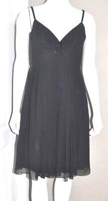 Maggy London Chiffon Dress - Maggy London Chiffon Sleeveless Dress Spaghetti Strap Women's Size 8P Silk Black