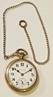 Hamilton 992 Minty Dial Open Face Railroad Pocket Watch With Fob Gold Filled A
