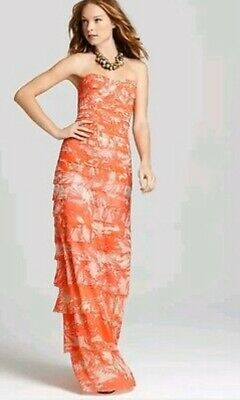 BCBG Max Azria Erika Dress Size 0 Coral Pink White Print Tiered Mesh Tulle Gown
