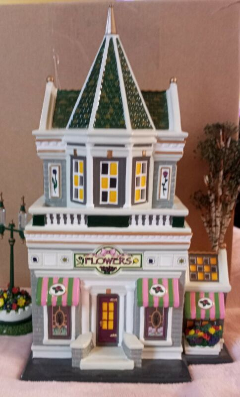 Dept 56 Merryville Series Christmas Village PETALS & STEMS FLOWER SHOPPE EUC Box