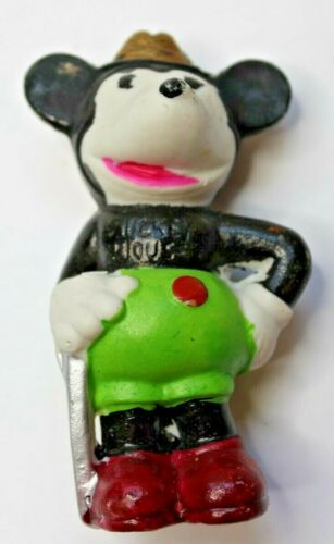 """Vintage Bisque Porcelain Disney Mickey Mouse Figurine - 4"""" High - As Found"""