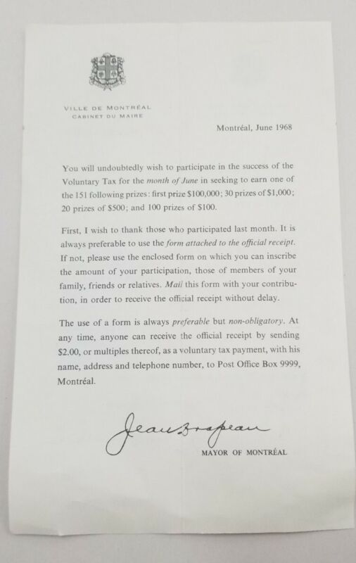 Printed Letter 1968 From Mayor Jean Drapeau Montreal Re. Voluntary Tax (Lottery)