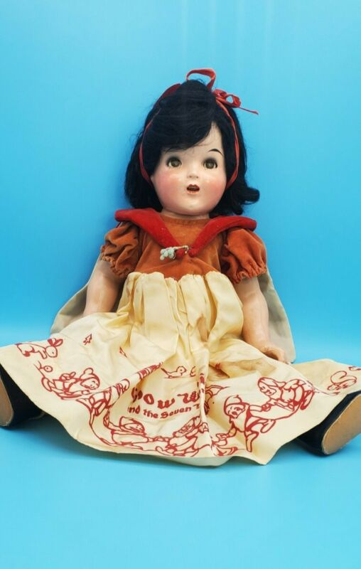 """ANTIQUE 1930s WALT DISNEY 18 inch """"SNOW WHITE"""" COMPOSITION SHIRLEY TEMPLE DOLL"""