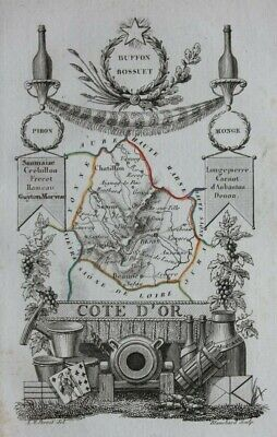 Miniature antique map, COTE D'OR, DIJON, CHATILLON, FRANCE, A.M. Perrot, 1824
