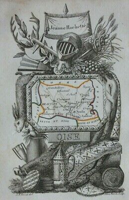 Miniature antique map, OISE, BEAUVAIS, COMPIEGNE, FRANCE, A. M. Perrot, 1824