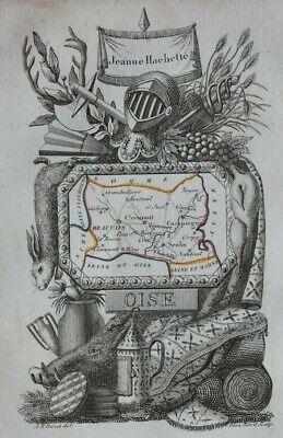 Miniature antique map, OISE, BEAUVAIS, COMPIEGNE, FRANCE, A. M. Perrot, 1824