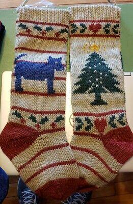 Two Handmade Wool Christmas Stocking Gray Background Tree and Dog Motif 20