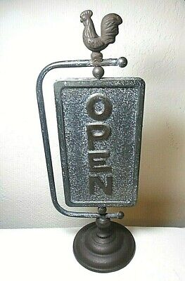 Brass Open Closed Store Swivel Sign On Pedestal With Rooster Topper
