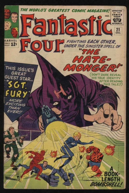 Fantastic Four #21 VG/Fine 5.0 OW Pgs 1st Hate Monger Sgt Fury Crossover Marvel