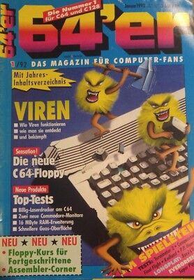 64er (64´er) 01/92 Januar 1992 + 2 Heftdisks C64 Commodore 64 (Markt & Technik)