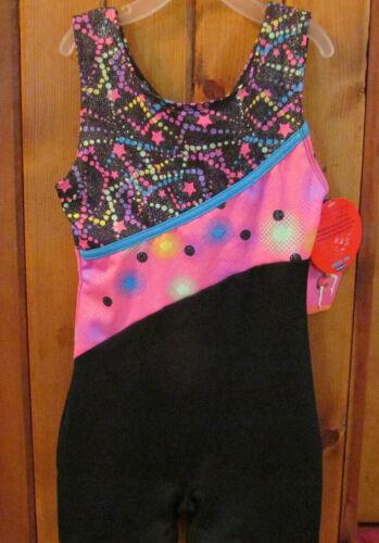 Freestyle Danskin Dance Gymnastics Girls Size 6/6X Leotard Outfit Black Pink New