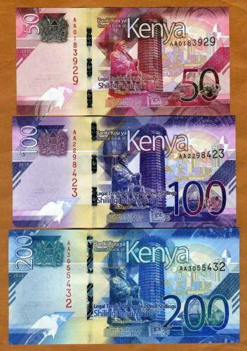 KENYA SET 3 PCS UNC 50 100 200 SHILLINGS 2019 P NEW DESIGN UNC