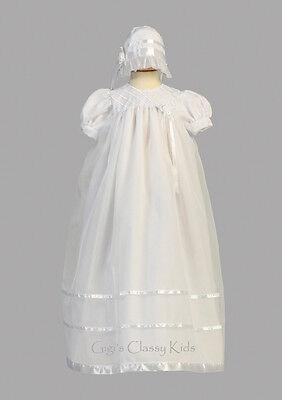 Baby Girls White Organza 2pc Dress Long Gown Christening ...