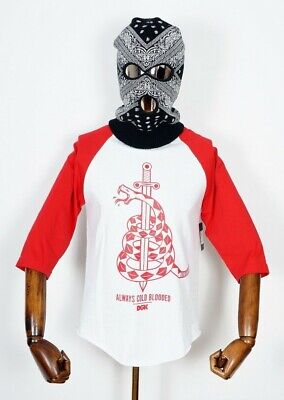 Red Bekleidung Erwachsene Tee (Dgk Skateboards T-Shirt Tee 3/4 Raglan Venom Red White in S Dirty Ghetto Kids)