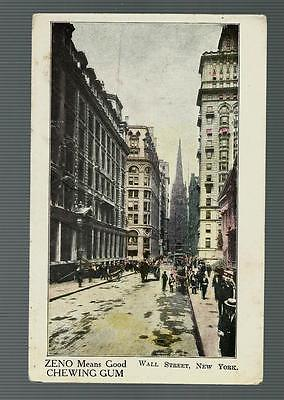 Zeno Chewing Gum Postcard from early 1900's - Showing Wall Street, New York City