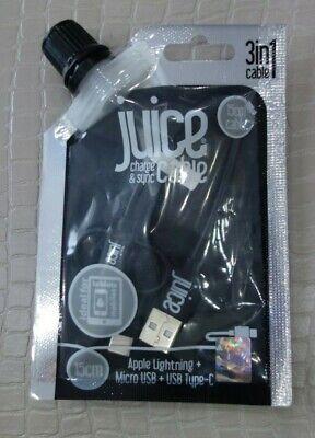 Juice 3 in 1 Black Cable 15cm Apple Lightening, USB Type C...